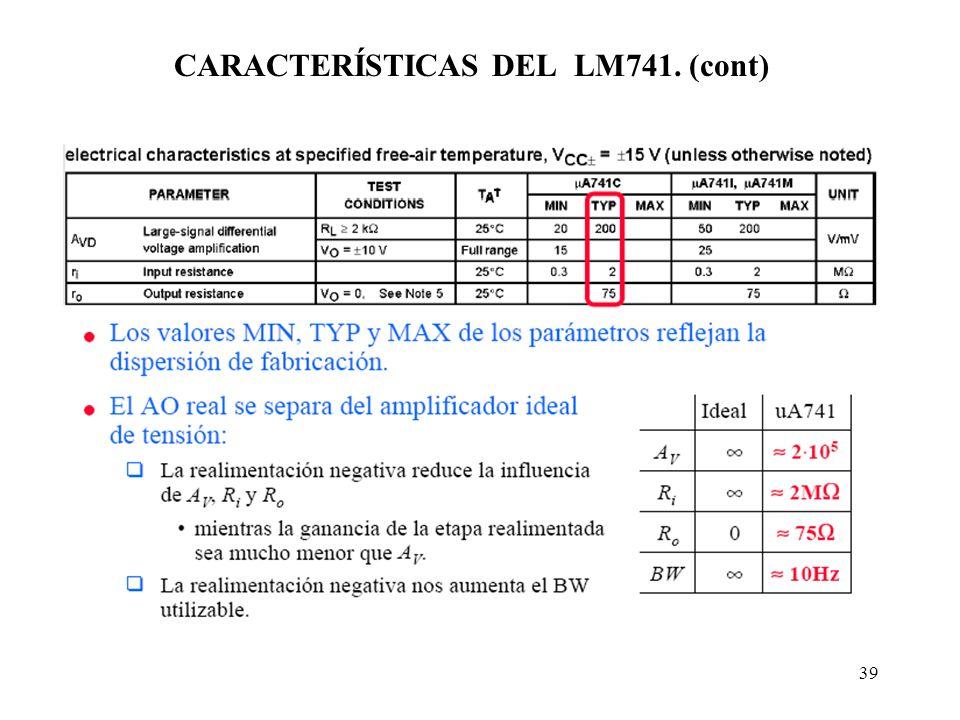 CARACTERÍSTICAS DEL LM741. (cont)