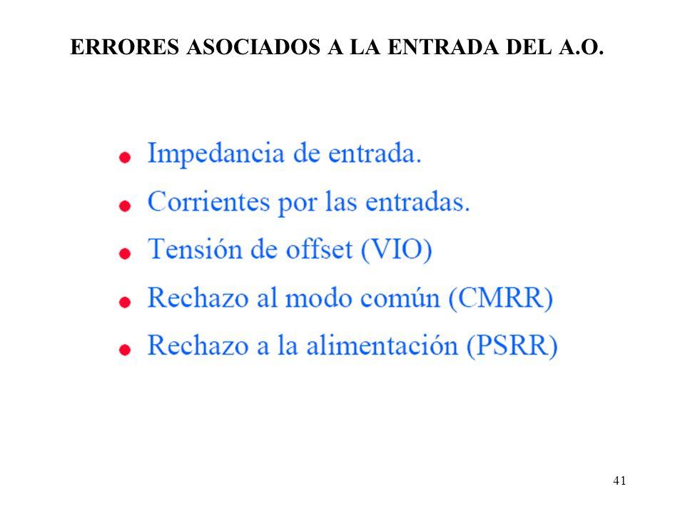 ERRORES ASOCIADOS A LA ENTRADA DEL A.O.