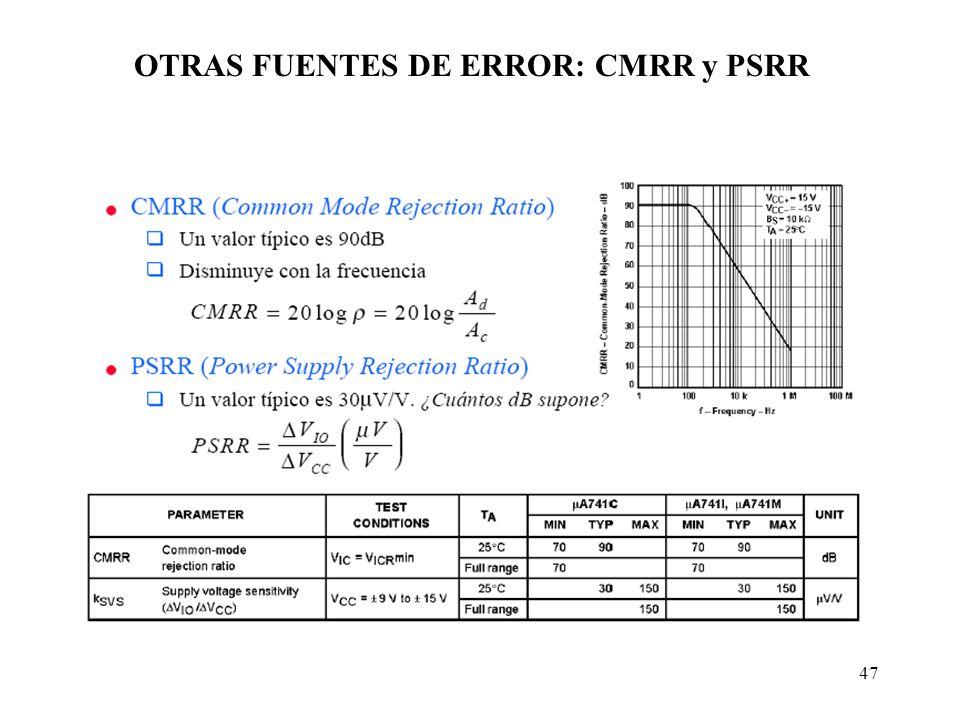 OTRAS FUENTES DE ERROR: CMRR y PSRR