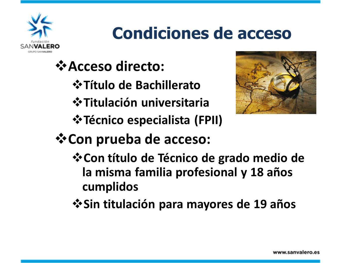 Condiciones de acceso Acceso directo: Con prueba de acceso: