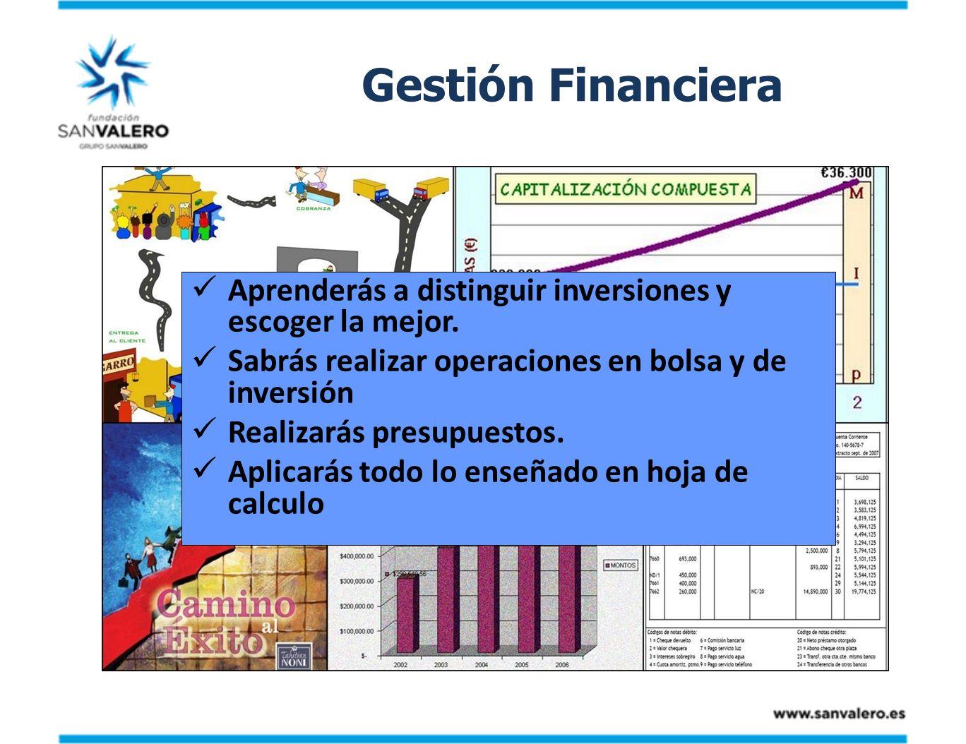 Gestión Financiera Aprenderás a distinguir inversiones y escoger la mejor. Sabrás realizar operaciones en bolsa y de inversión.
