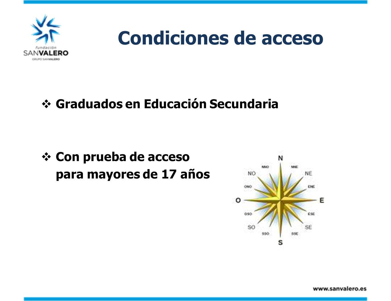 Condiciones de acceso Graduados en Educación Secundaria