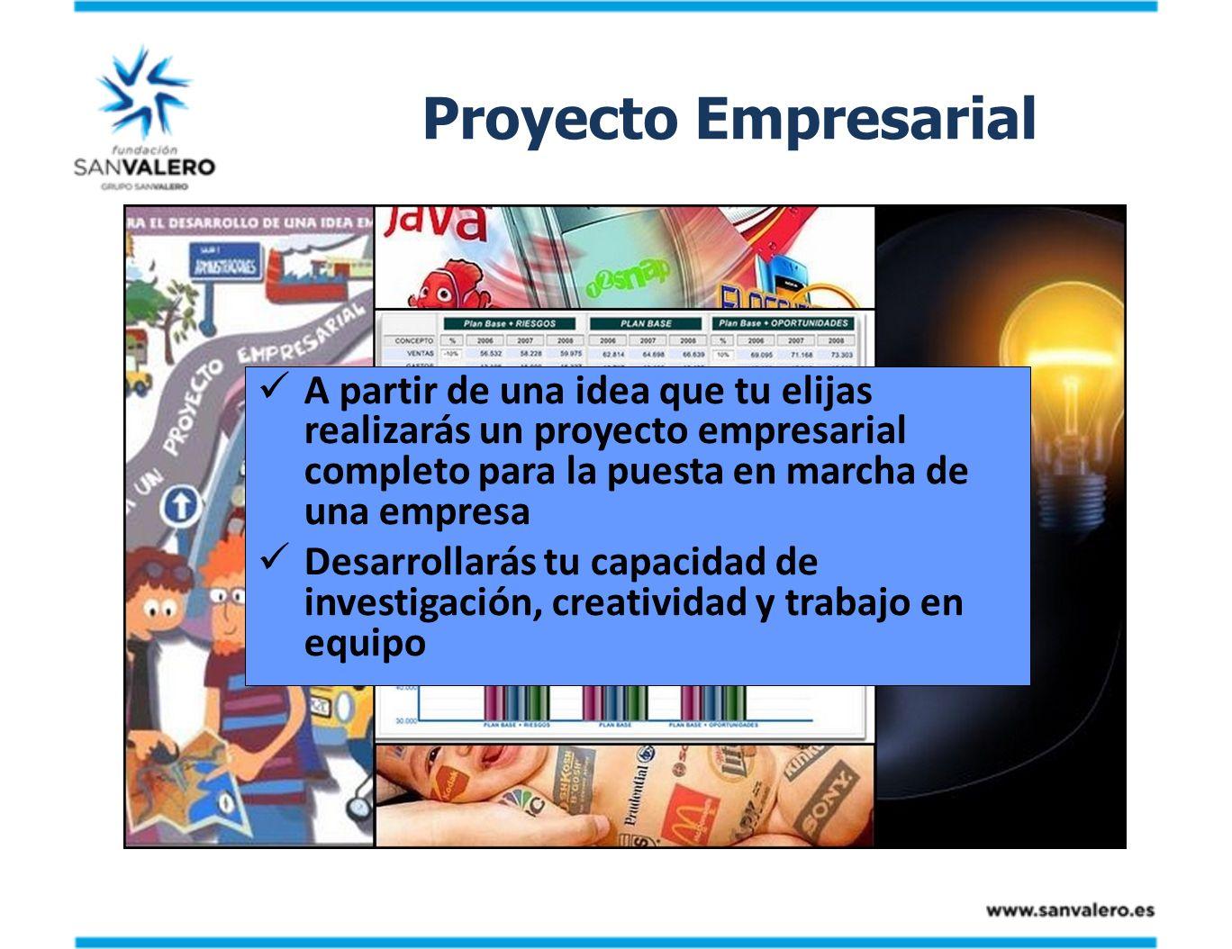 Proyecto Empresarial A partir de una idea que tu elijas realizarás un proyecto empresarial completo para la puesta en marcha de una empresa.