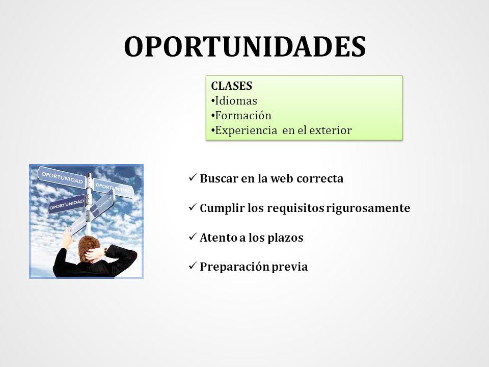 OPORTUNIDADES CLASES Idiomas Formación Experiencia en el exterior