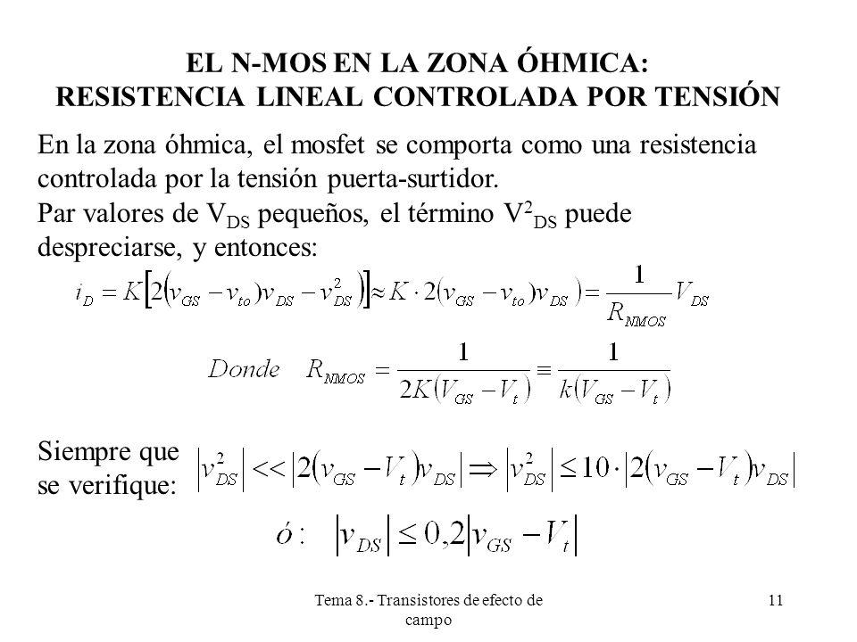 EL N-MOS EN LA ZONA ÓHMICA: RESISTENCIA LINEAL CONTROLADA POR TENSIÓN