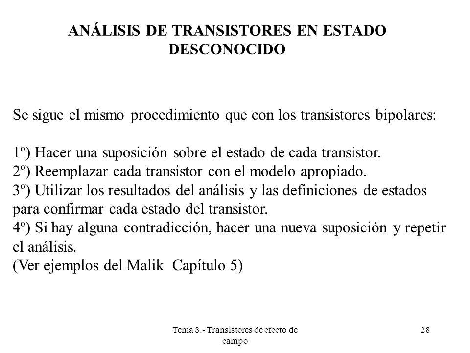 ANÁLISIS DE TRANSISTORES EN ESTADO DESCONOCIDO