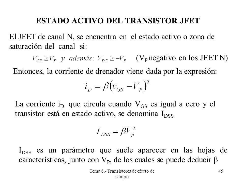 ESTADO ACTIVO DEL TRANSISTOR JFET