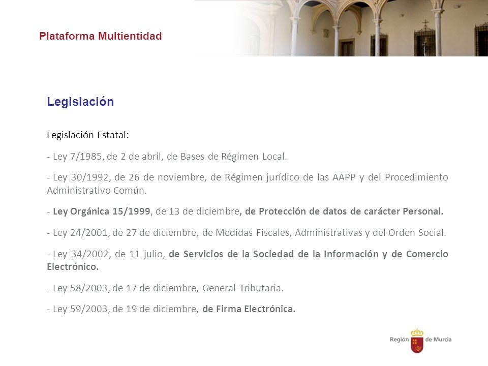 Legislación Plataforma Multientidad Legislación Estatal:
