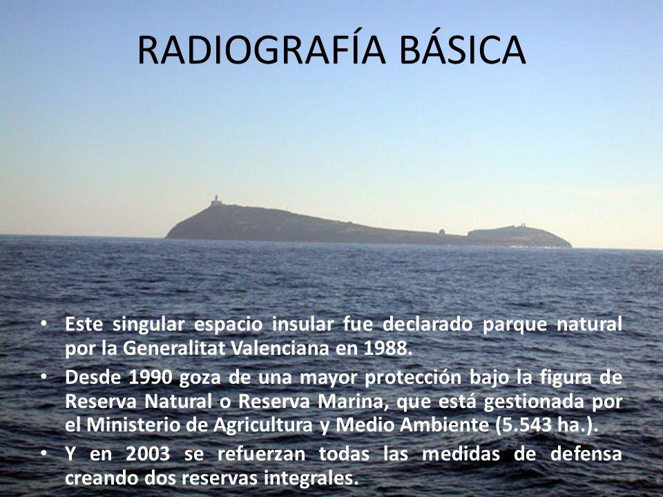 RADIOGRAFÍA BÁSICAEste singular espacio insular fue declarado parque natural por la Generalitat Valenciana en 1988.