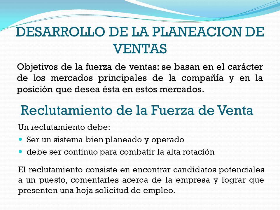 DESARROLLO DE LA PLANEACION DE VENTAS