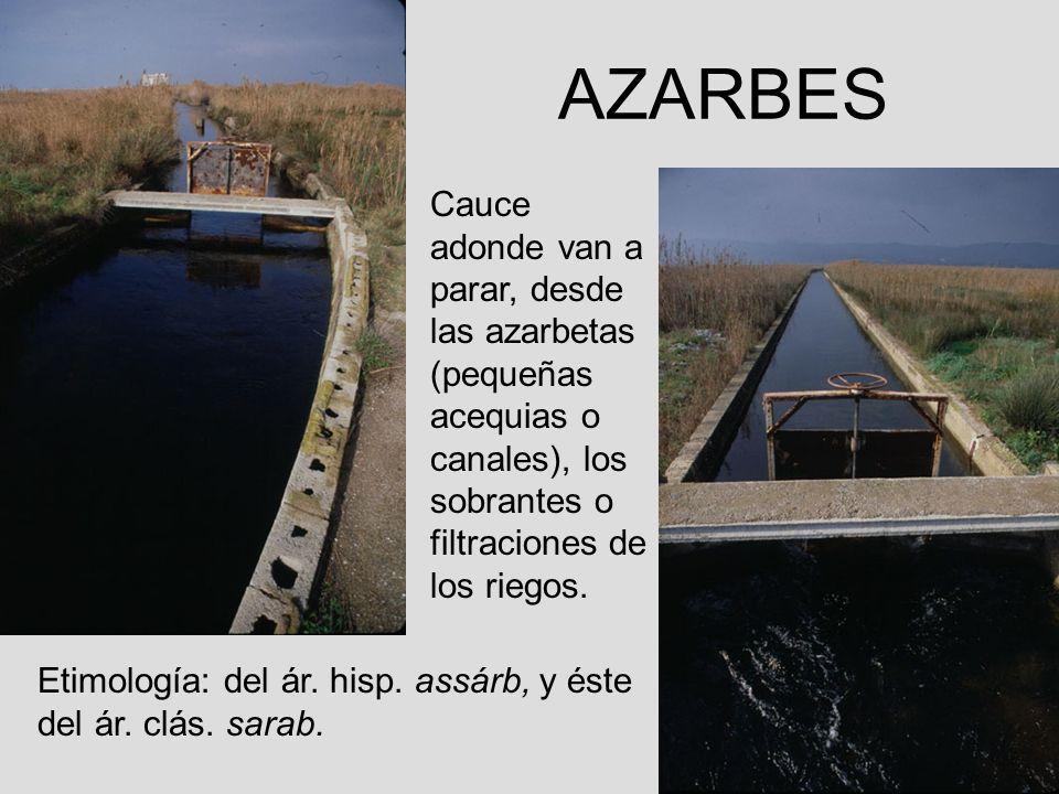 AZARBES Cauce adonde van a parar, desde las azarbetas (pequeñas acequias o canales), los sobrantes o filtraciones de los riegos.