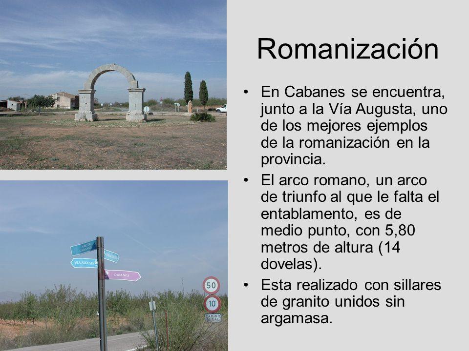 RomanizaciónEn Cabanes se encuentra, junto a la Vía Augusta, uno de los mejores ejemplos de la romanización en la provincia.