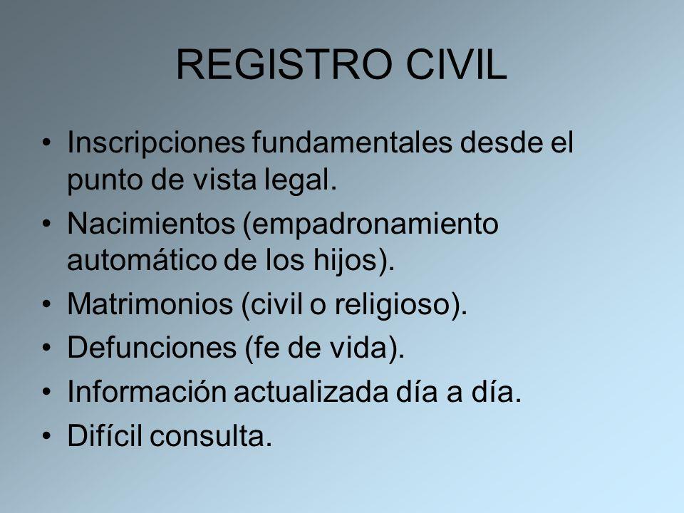 REGISTRO CIVILInscripciones fundamentales desde el punto de vista legal. Nacimientos (empadronamiento automático de los hijos).