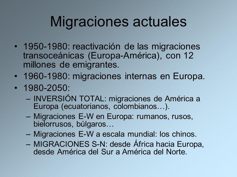 Migraciones actuales1950-1980: reactivación de las migraciones transoceánicas (Europa-América), con 12 millones de emigrantes.