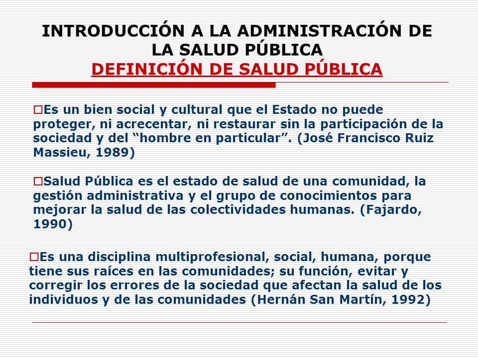 INTRODUCCIÓN A LA ADMINISTRACIÓN DE LA SALUD PÚBLICA DEFINICIÓN DE SALUD PÚBLICA