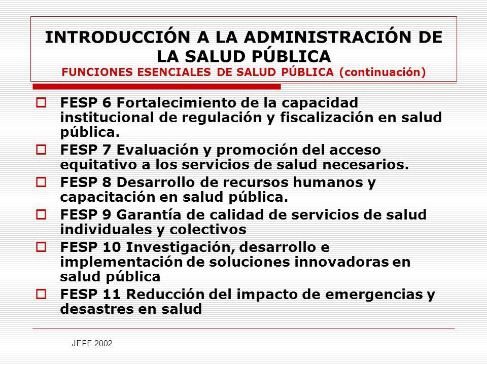 INTRODUCCIÓN A LA ADMINISTRACIÓN DE LA SALUD PÚBLICA FUNCIONES ESENCIALES DE SALUD PÚBLICA (continuación)