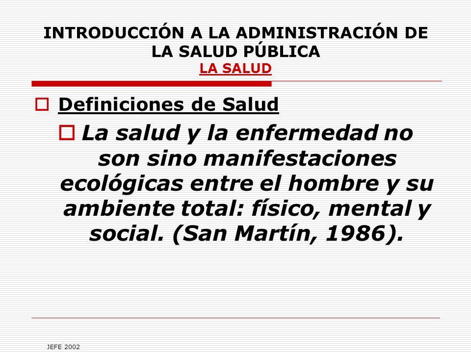 INTRODUCCIÓN A LA ADMINISTRACIÓN DE LA SALUD PÚBLICA LA SALUD