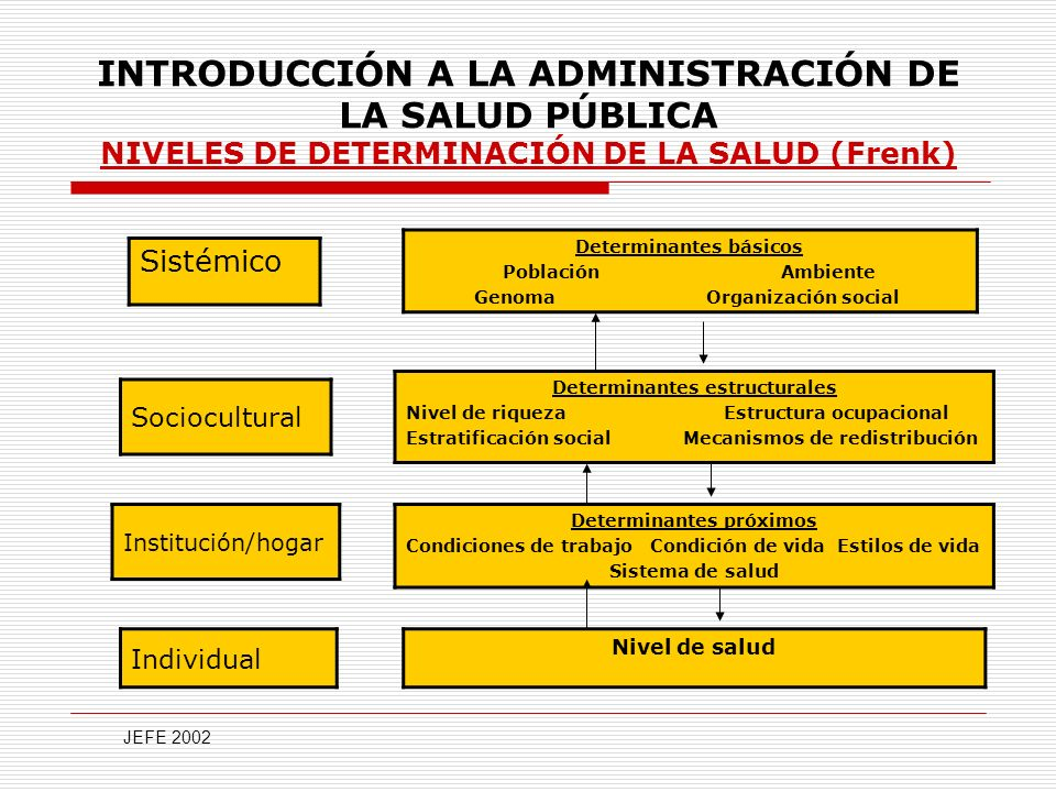 INTRODUCCIÓN A LA ADMINISTRACIÓN DE LA SALUD PÚBLICA NIVELES DE DETERMINACIÓN DE LA SALUD (Frenk)