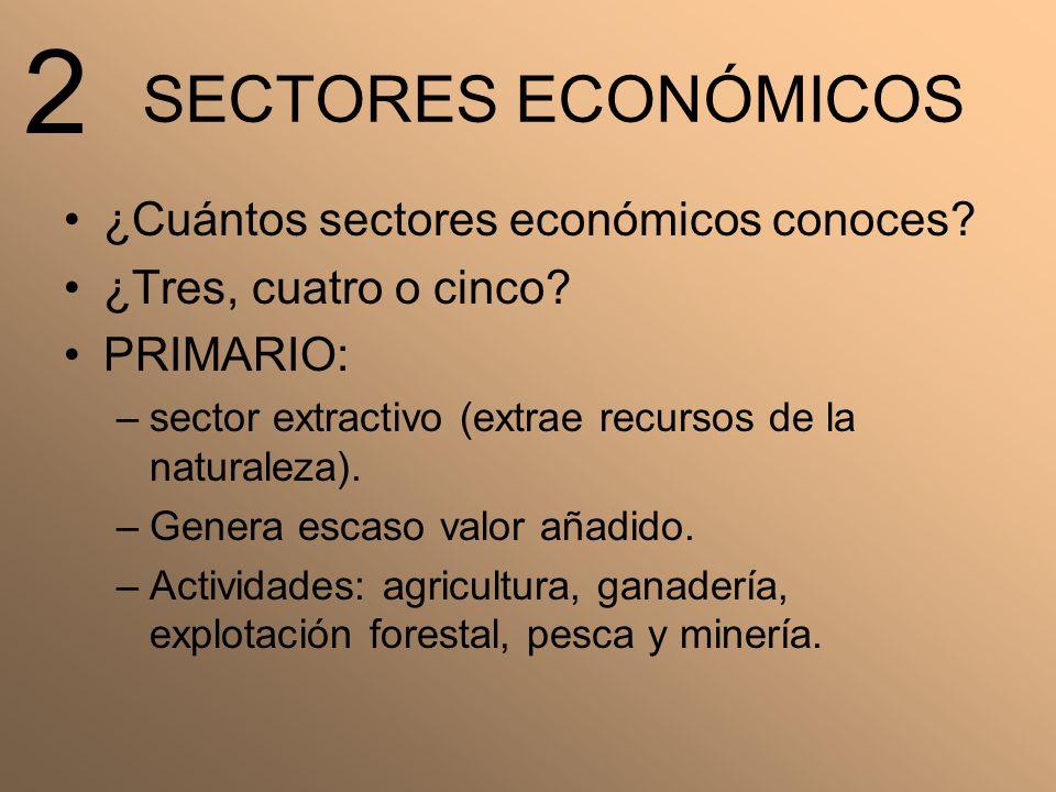 2 SECTORES ECONÓMICOS ¿Cuántos sectores económicos conoces