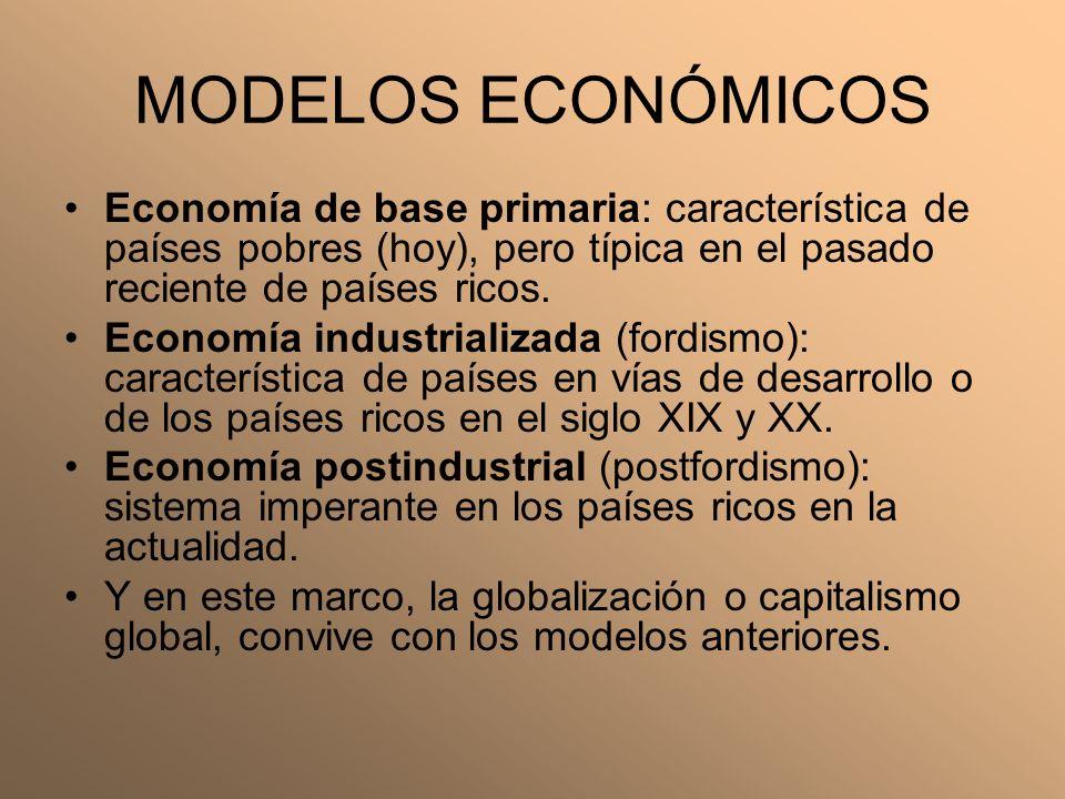 MODELOS ECONÓMICOS Economía de base primaria: característica de países pobres (hoy), pero típica en el pasado reciente de países ricos.