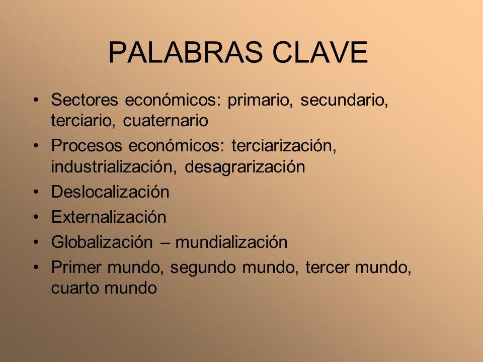 PALABRAS CLAVE Sectores económicos: primario, secundario, terciario, cuaternario.