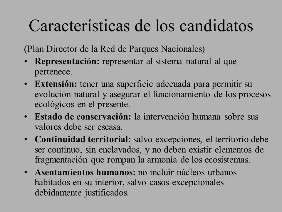 Características de los candidatos