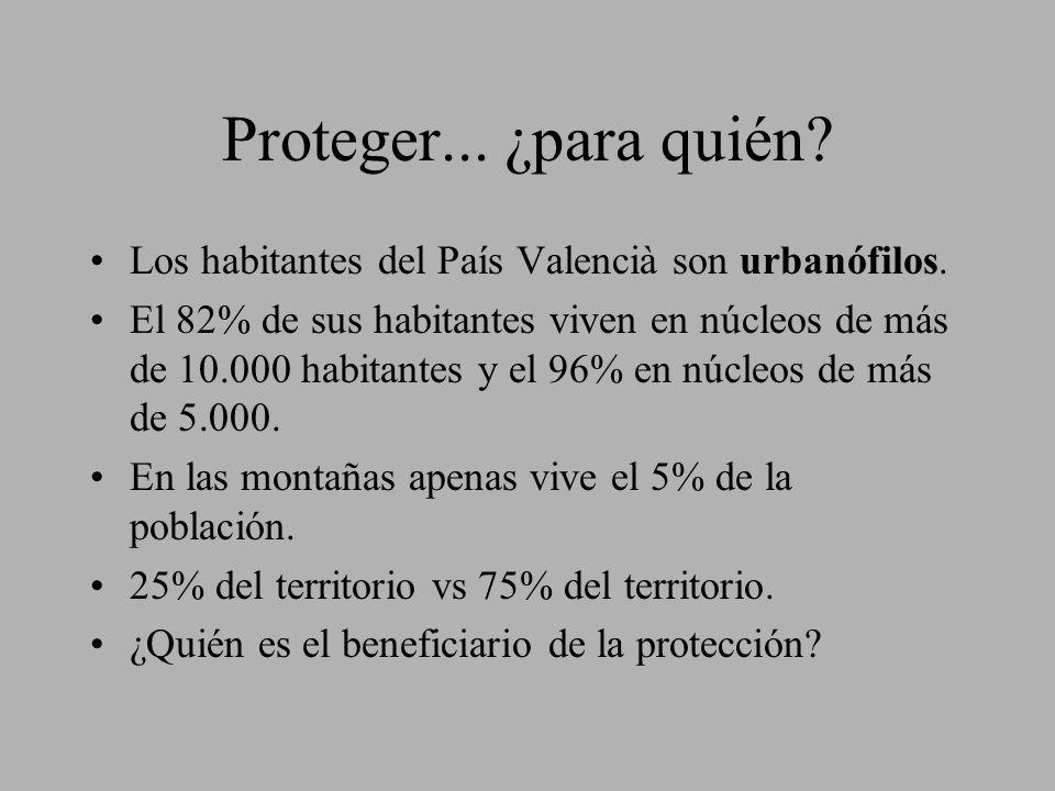 Proteger... ¿para quién Los habitantes del País Valencià son urbanófilos.