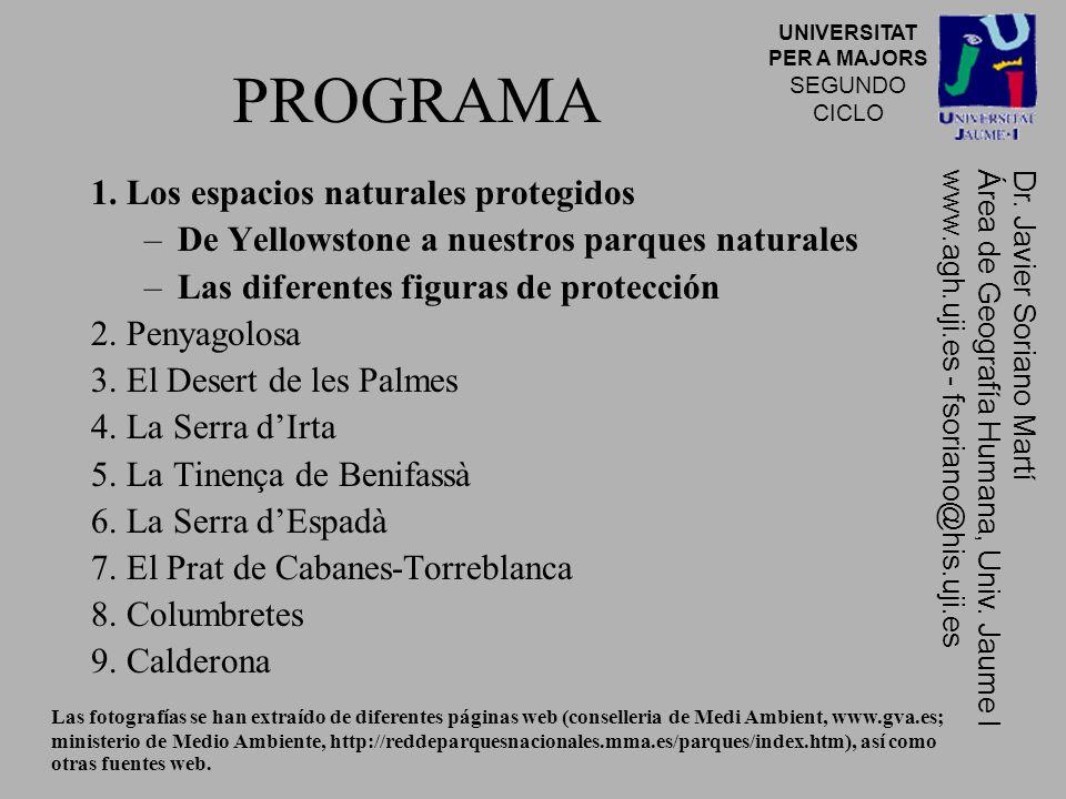 PROGRAMA 1. Los espacios naturales protegidos