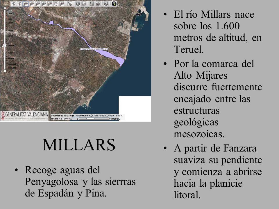 El río Millars nace sobre los 1.600 metros de altitud, en Teruel.