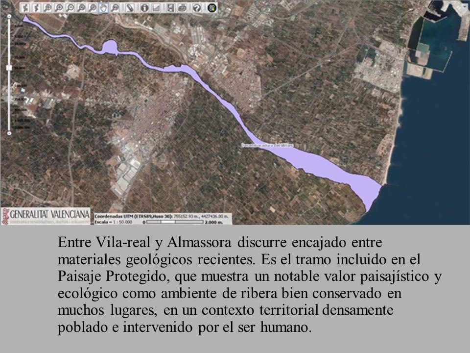 Entre Vila-real y Almassora discurre encajado entre materiales geológicos recientes.