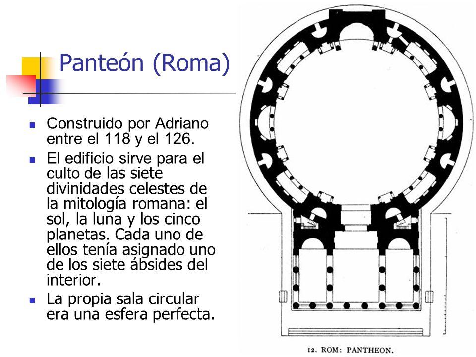 Panteón (Roma) Construido por Adriano entre el 118 y el 126.
