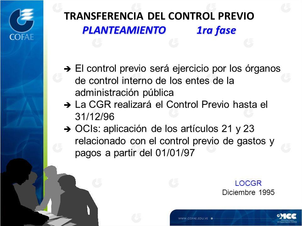 TRANSFERENCIA DEL CONTROL PREVIO PLANTEAMIENTO 1ra fase