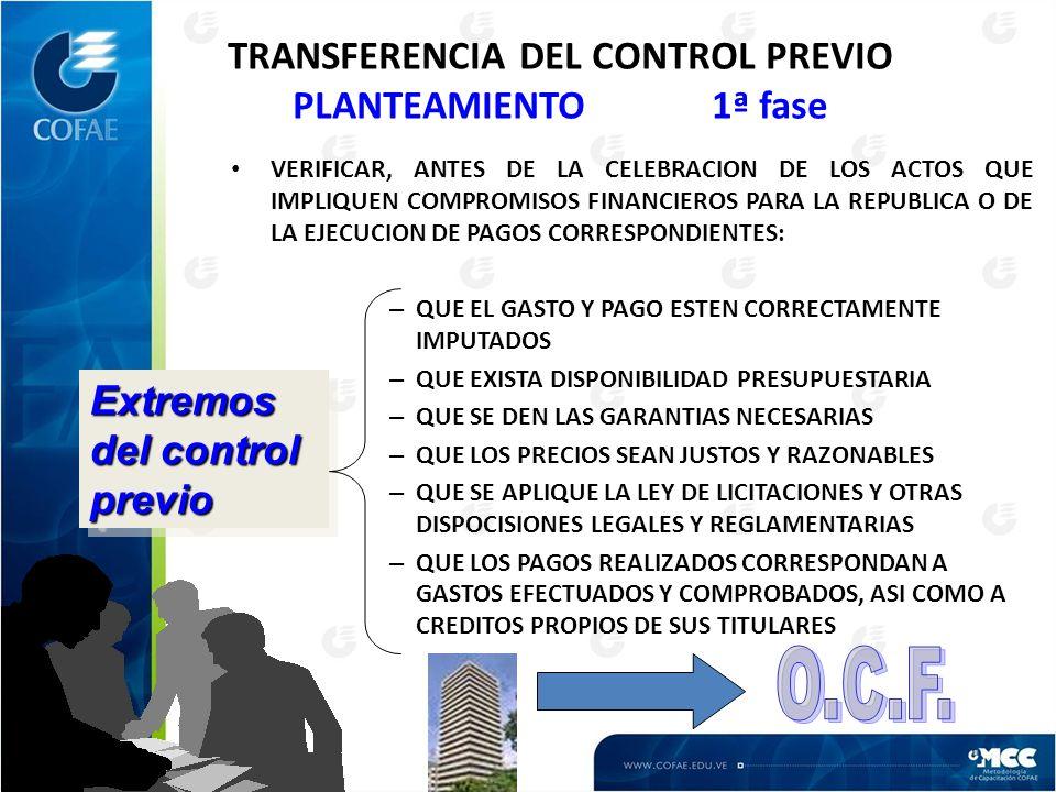 TRANSFERENCIA DEL CONTROL PREVIO PLANTEAMIENTO 1ª fase