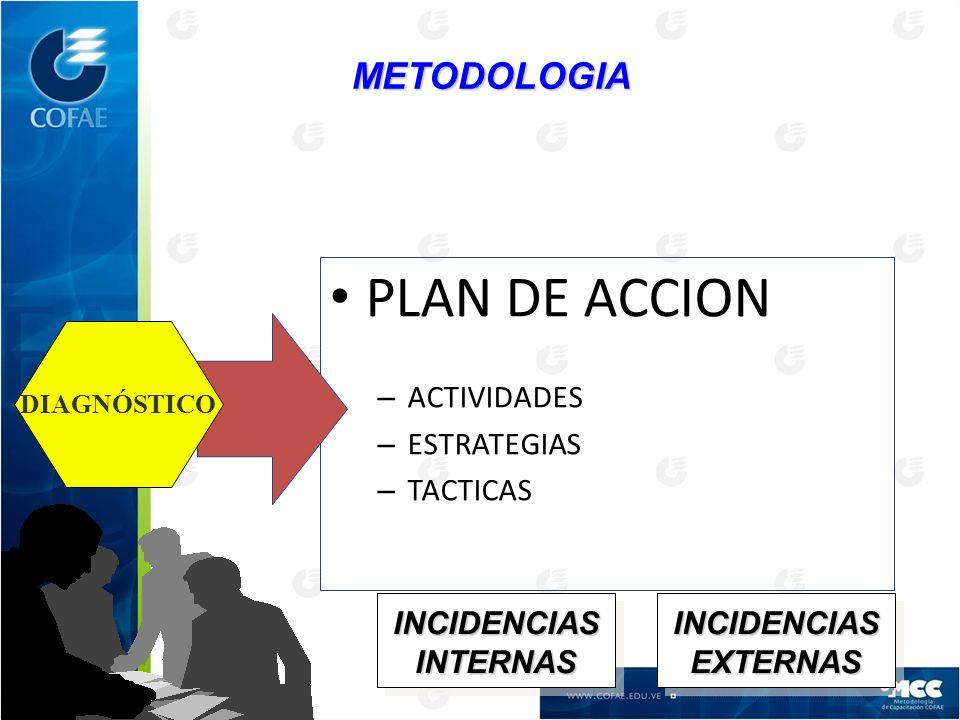 PLAN DE ACCION METODOLOGIA ACTIVIDADES ESTRATEGIAS TACTICAS