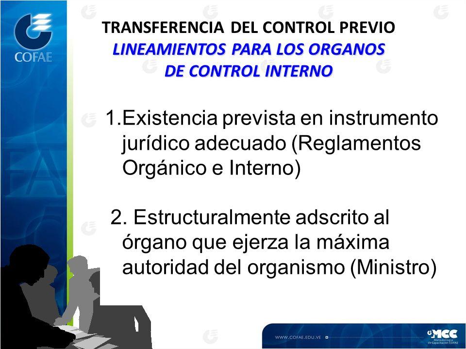 TRANSFERENCIA DEL CONTROL PREVIO LINEAMIENTOS PARA LOS ORGANOS DE CONTROL INTERNO