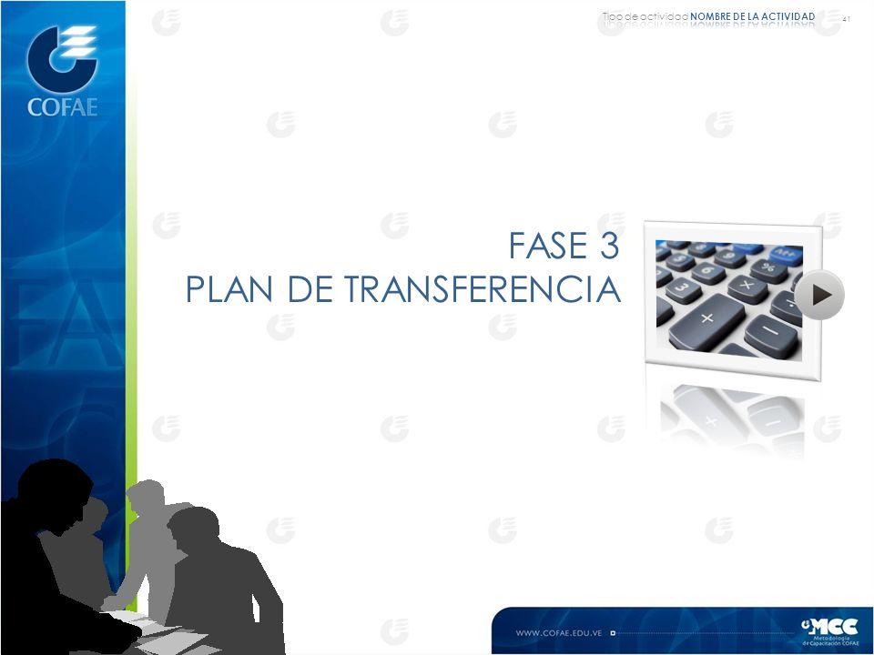 FASE 3 PLAN DE TRANSFERENCIA Tipo de actividad NOMBRE DE LA ACTIVIDAD