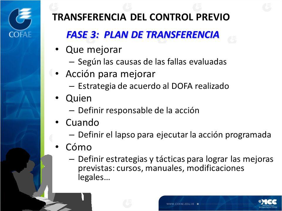 TRANSFERENCIA DEL CONTROL PREVIO FASE 3: PLAN DE TRANSFERENCIA
