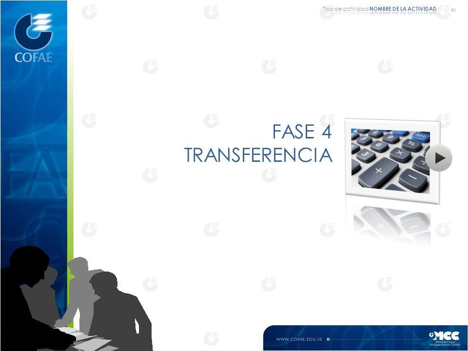 50 Tipo de actividad NOMBRE DE LA ACTIVIDAD FASE 4 TRANSFERENCIA