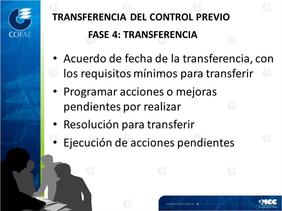 TRANSFERENCIA DEL CONTROL PREVIO FASE 4: TRANSFERENCIA