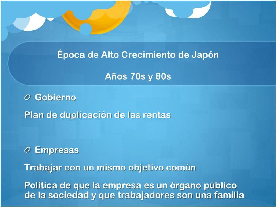 Época de Alto Crecimiento de Japón Años 70s y 80s