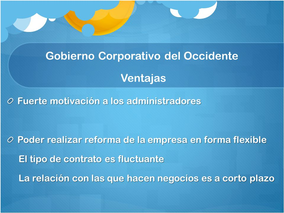 Gobierno Corporativo del Occidente Ventajas