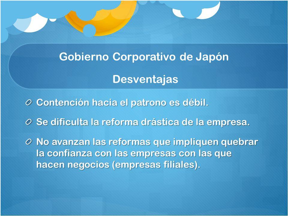 Gobierno Corporativo de Japón Desventajas