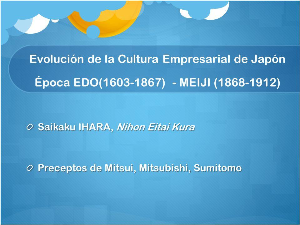 Evolución de la Cultura Empresarial de Japón Época EDO(1603-1867) - MEIJI (1868-1912)