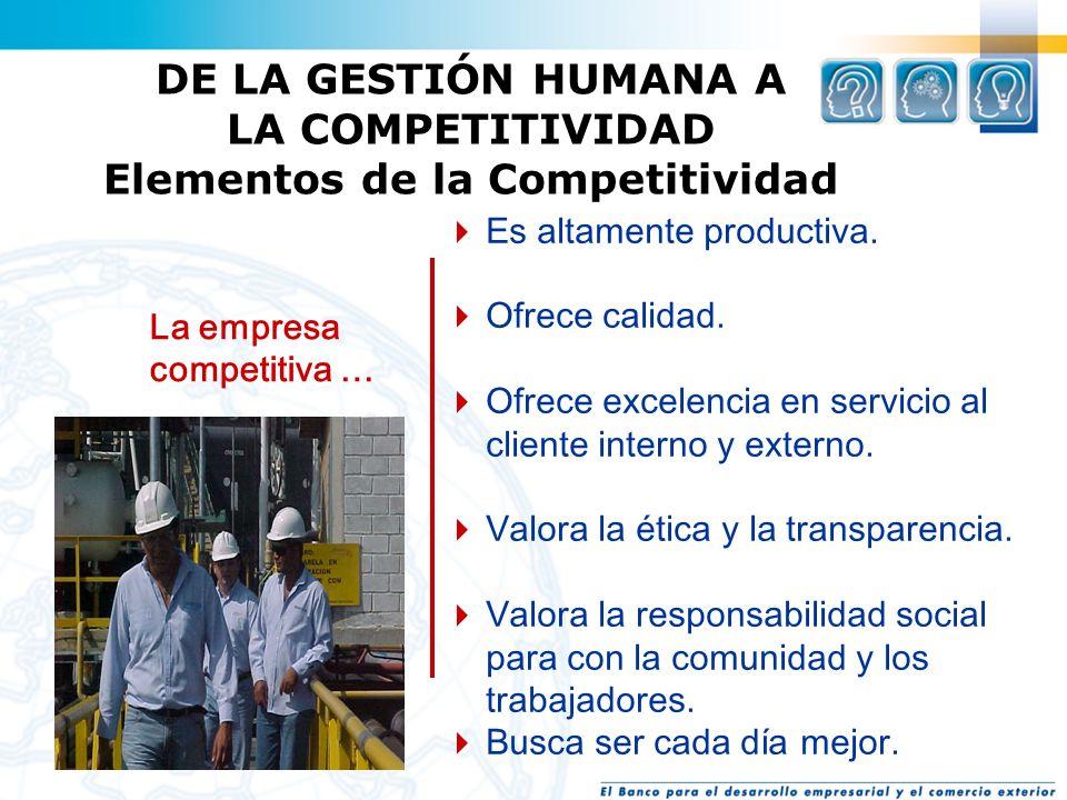DE LA GESTIÓN HUMANA A LA COMPETITIVIDAD Elementos de la Competitividad