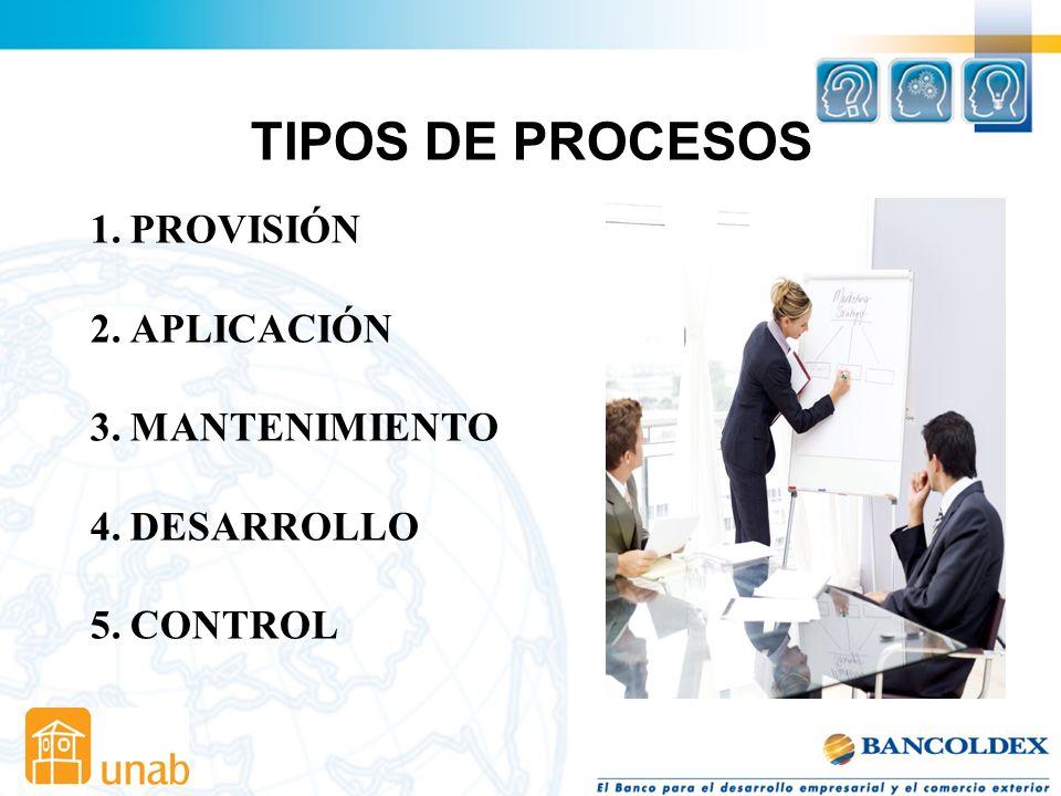 TIPOS DE PROCESOS PROVISIÓN APLICACIÓN MANTENIMIENTO DESARROLLO