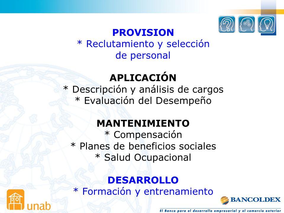 PROVISION. Reclutamiento y selección de personal APLICACIÓN