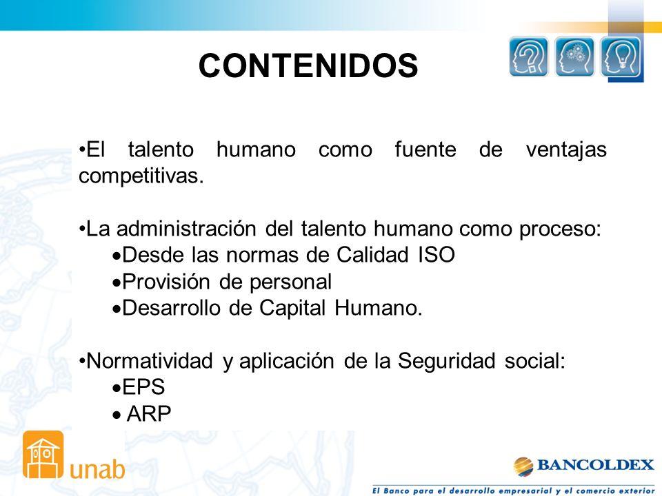 CONTENIDOS El talento humano como fuente de ventajas competitivas.