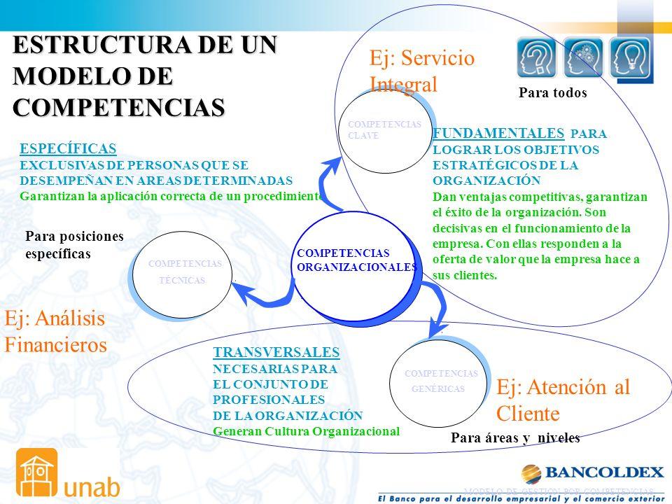 ESTRUCTURA DE UN MODELO DE COMPETENCIAS Ej: Servicio Integral