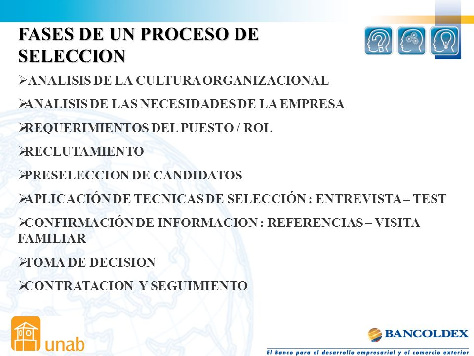 FASES DE UN PROCESO DE SELECCION ANALISIS DE LA CULTURA ORGANIZACIONAL
