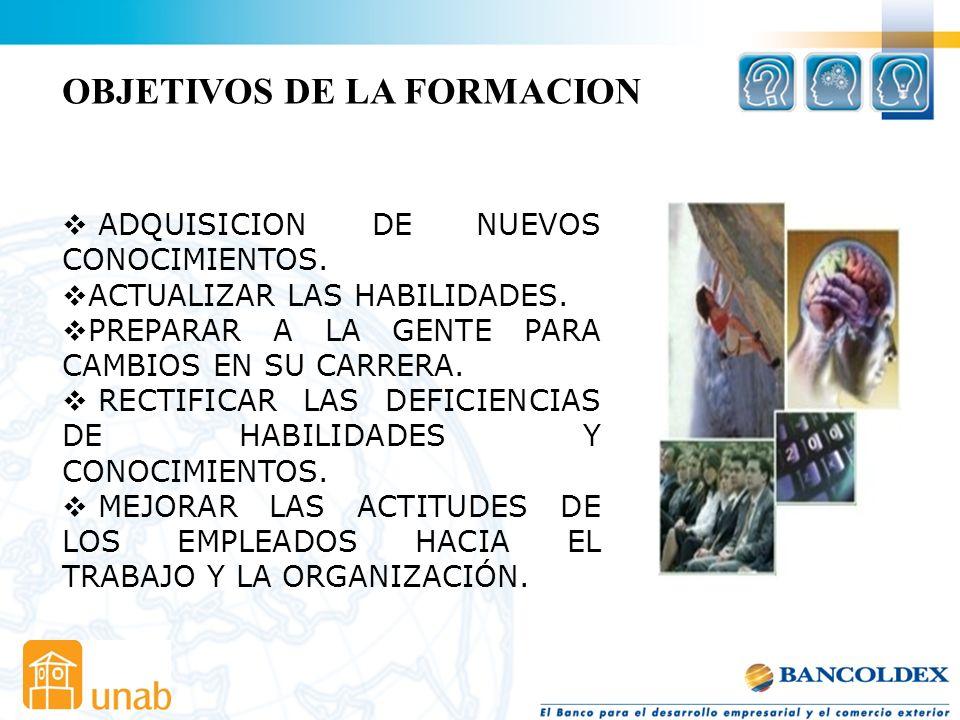 OBJETIVOS DE LA FORMACION